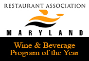 Maryland restuarant association wine and beverage program of the year