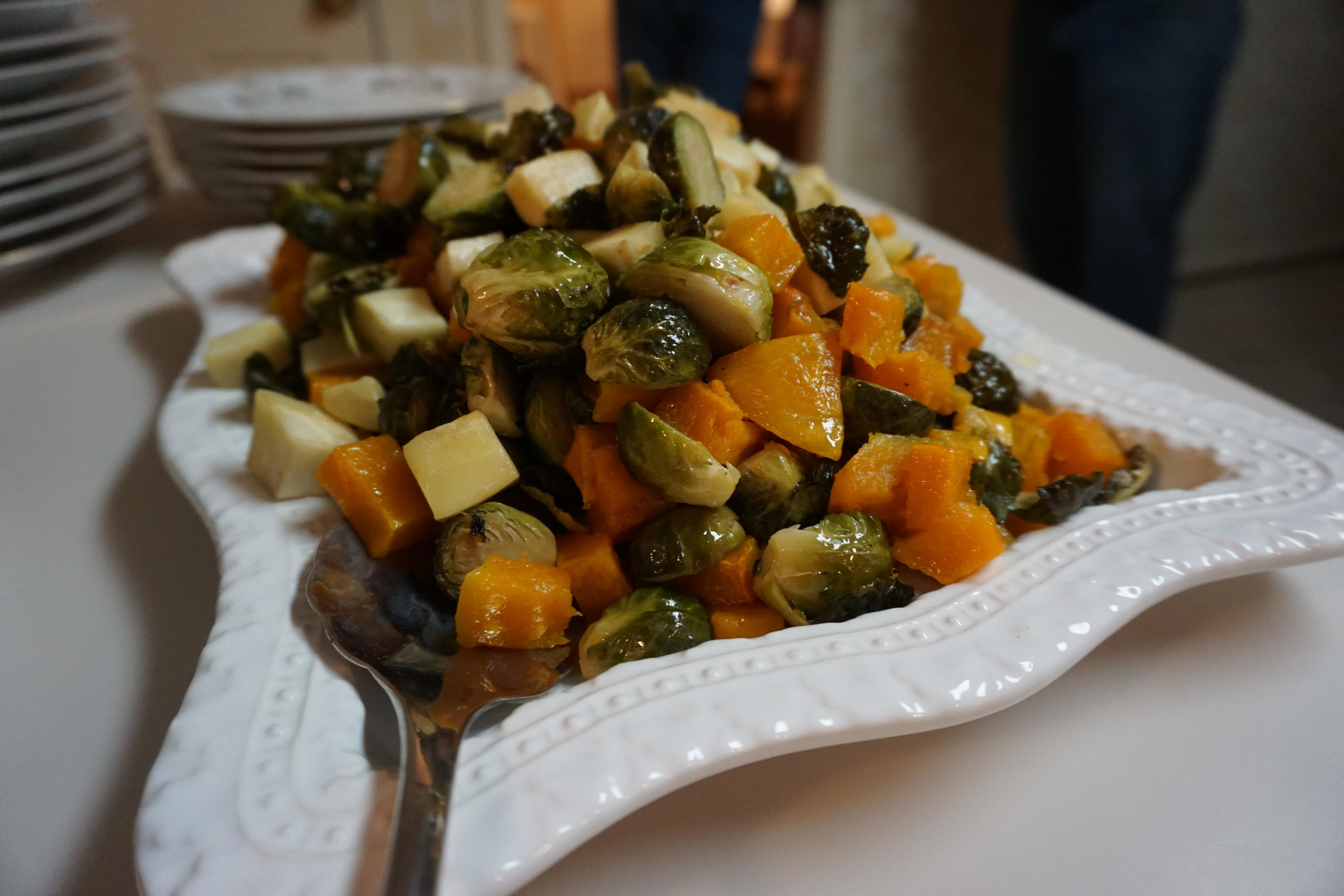 Sweet Potatoes, Brussel Sprouts, and Apples