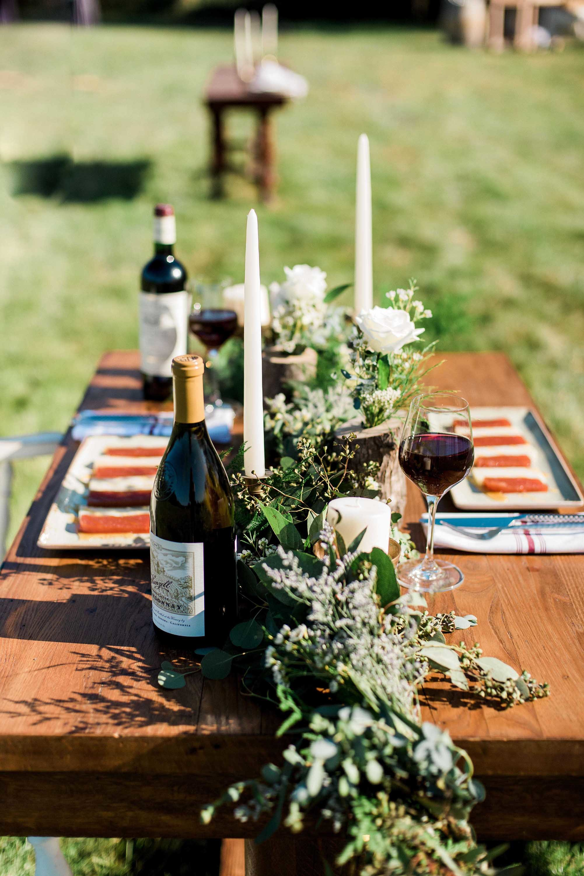 Wooden Tables with wine